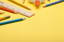 yellow, rulers, pencils, back to school, background, glue, colored pencils