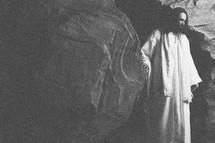 The risen Jesus leaving the empty tomb