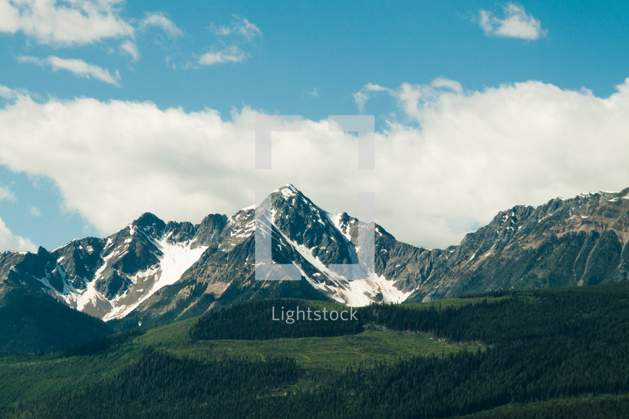 snow capped jagged mountain peaks