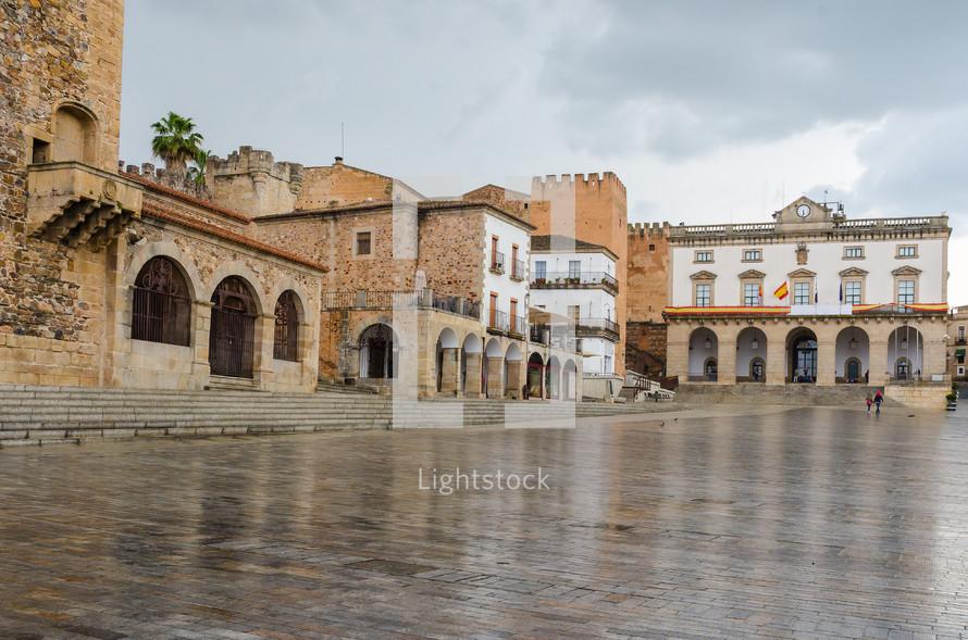 wet courtyard after the rain