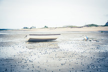 beached boat on a shore