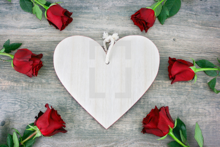 white wood heart and red roses
