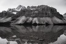 mountain peaks across a lake