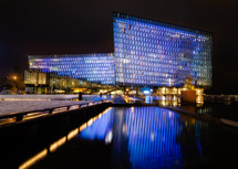 The Harpa Concert Hall in Reykjav..k, Iceland. A constant light show in a stunningly designed building.