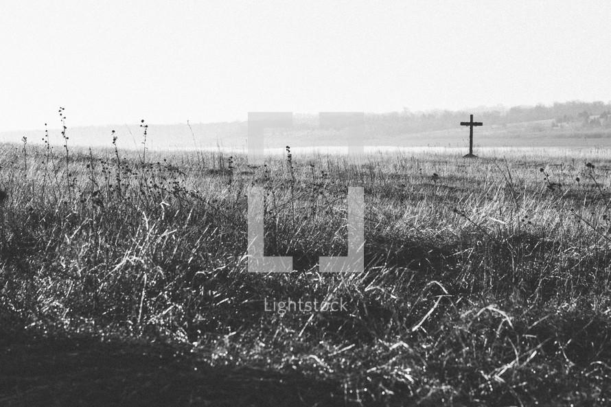 Cross on teh hill at daybreak.