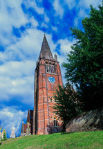 brick church with steeple