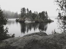 small island in a lake