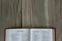 Bible opened to Isaiah