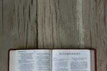 Bible opened to Ecclesiastes