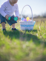 toddler on a Easter egg hunt