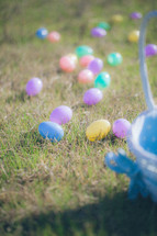 Easter eggs and an Easter basket in the grass