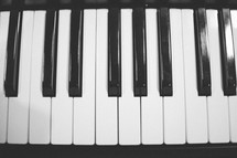 Close up of the keys on a piano