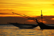 Fishing boats at sunrise
