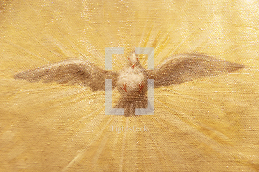 Painting of a descending white dove on a glowing background depicting the Holy Spirit.