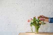 vase of spring tulips