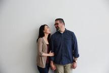 husband and wife in studio