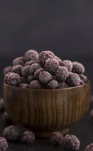frozen blueberries in a bowl