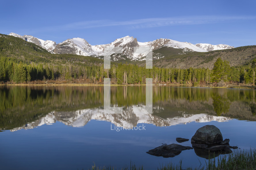 reflection of mountains on a pond water