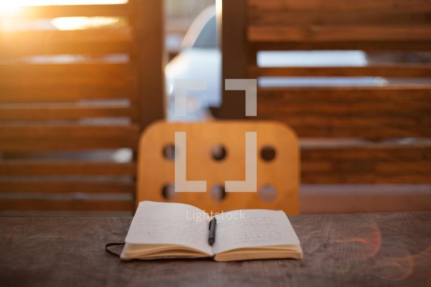 pen in an open journal