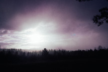 sunlight through fog and clouds