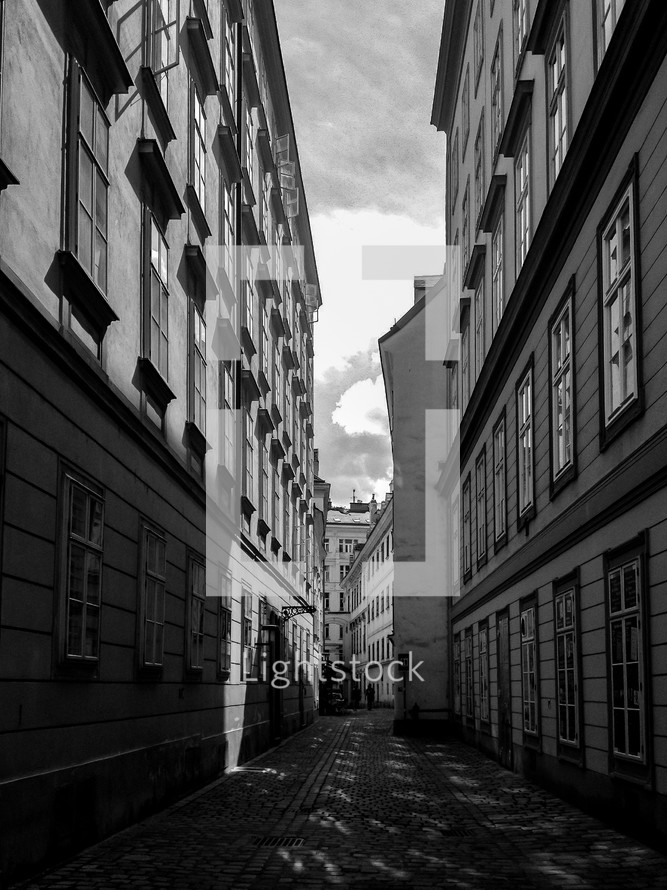 cobblestone street between two buildings