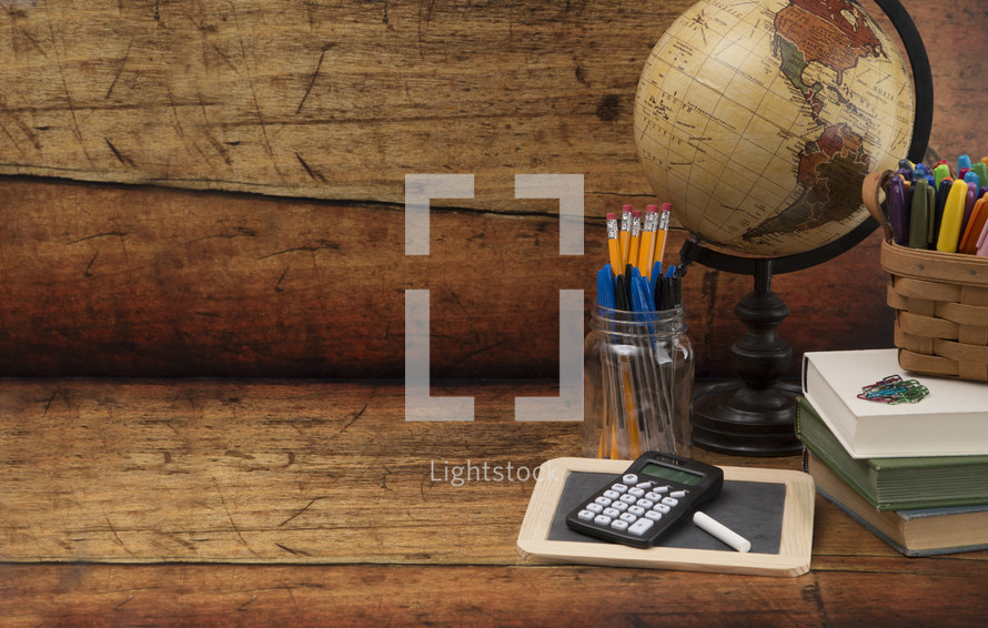 Back to School Themed Background on a Wooden Table