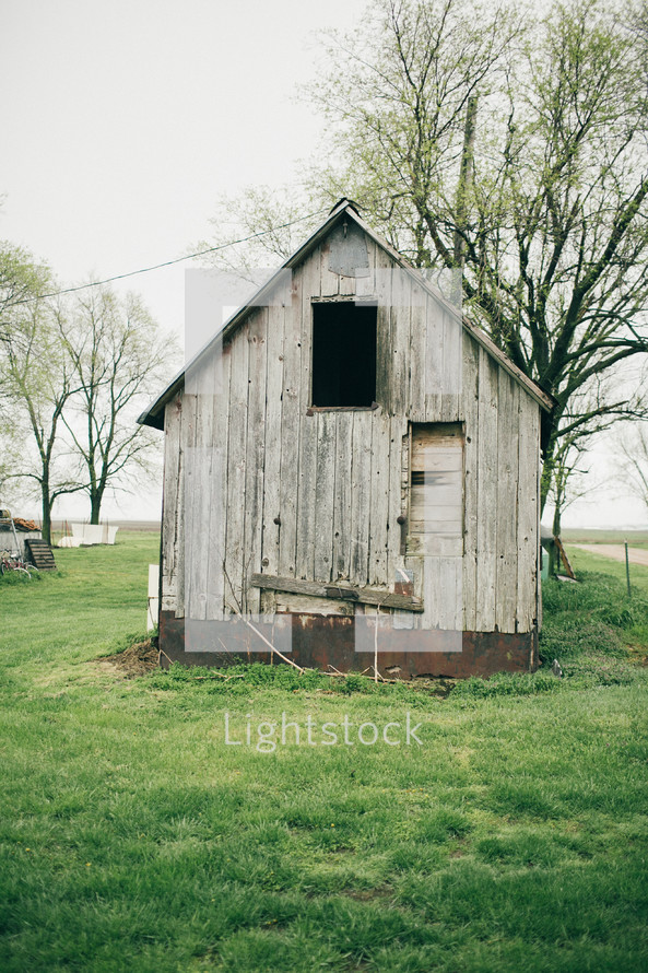 an old wooden shed