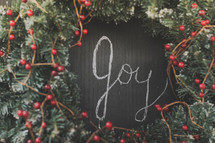 Joy written on a chalkboard inside a wreath