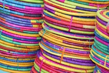 colorful string and twine basket background