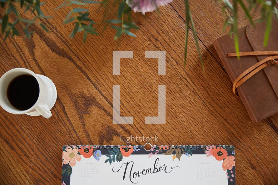 November calendar on a desk