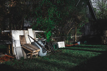 junk in a backyard