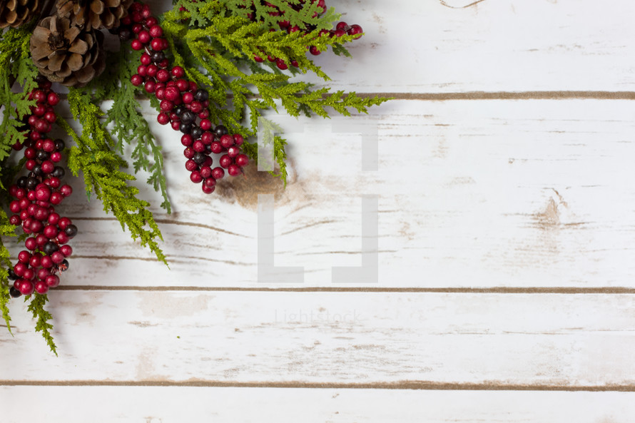 pine and red berries on wood
