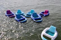 inflatable rafts floating on water