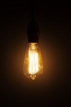 Edison bulb glowing