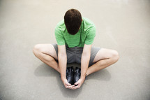 a man stretching