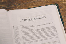 Bible opened to 1 Thessalonians