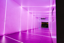 purple illuminated hallway