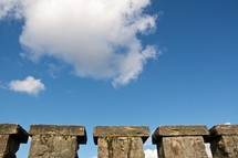 stone wall and blue sky