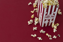 popcorn on a red background