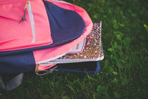 composition notebook in the grass