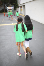 children walking together at recess time