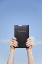 woman holding a Bible up to the sky