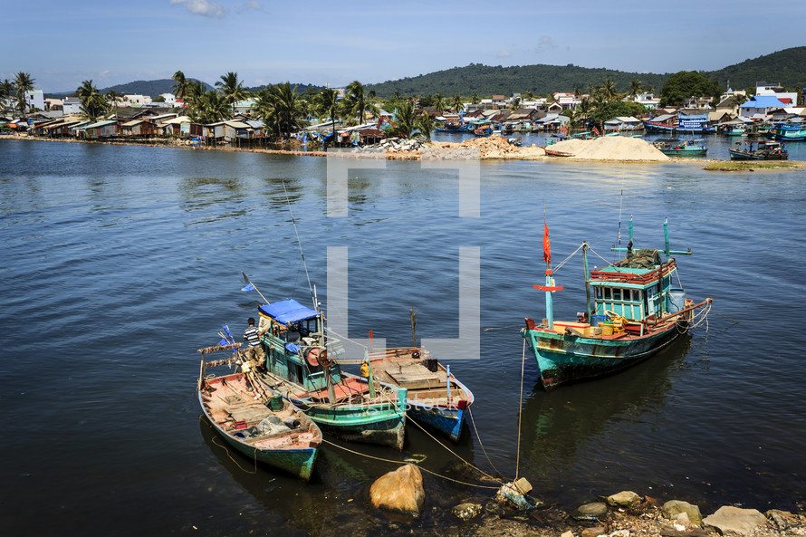 boats anchored to a shore