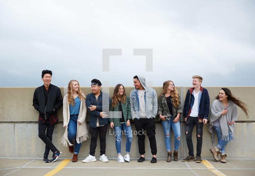 row of teens
