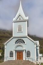 light blue church
