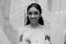 A smiling bride.