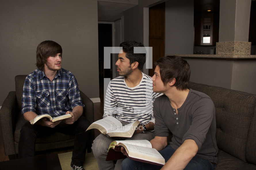 Teens at a home Bible study.