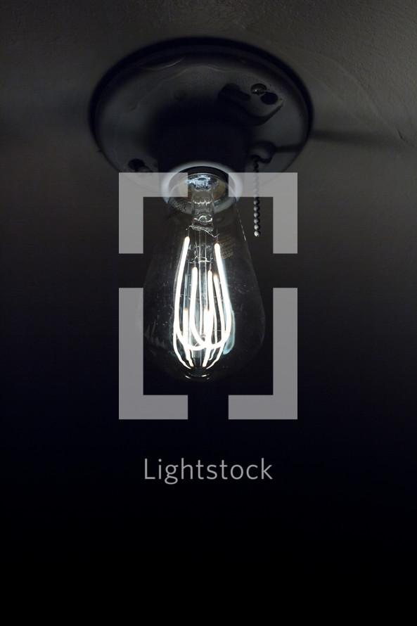 glowing filaments in an Edison bulb