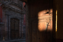 sunlight on an old wooden door