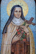 mosaic tile art of a Nun